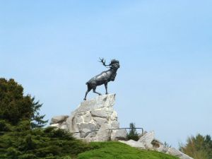 The Caribou Memorial in Beaumont Hamel. A replica exists at the Royal Newfoundland Regiment Memorial in Bowring Park. Photo courtesy of Wikipedia.